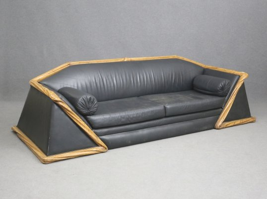 Art Deco style French sofa in leather & wood, 1980s