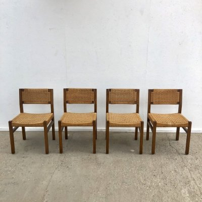 Set of 4 vintage chairs with papercord by Arnold Merckx for Fristho, 1970s