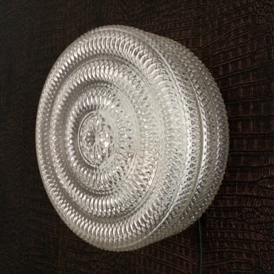 Large Wheel Glass Sconce Wall Lamp, 1970's
