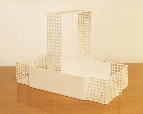 White Metal Basket By Josef Hoffman For Bieffeplast