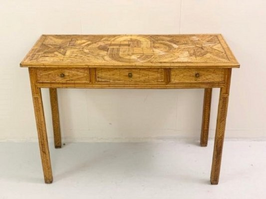 Rattan console with 3 drawers, 1950s