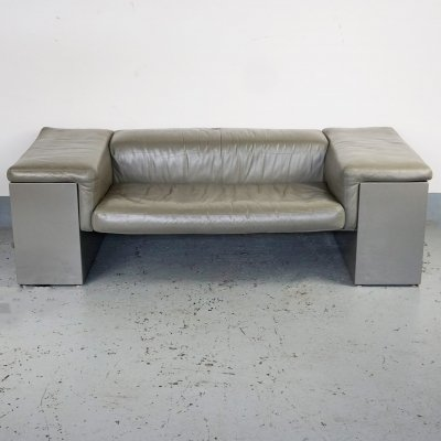 Grey Leather Two Seat 'Brigadiere' Sofa by Cini Boeri for Knoll