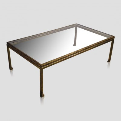 Vintage cast iron gilt plated Maison Ramsay coffee table by Henri Pouenat, 1960s