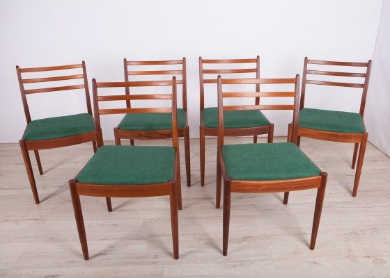 Set of 6 Fabric & Teak Dining Chairs by Victor Wilkins for G-Plan, 1960s
