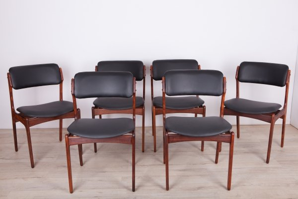 Set of 6 Model 49 Rosewood Dining Chairs by Erik Buch forOdense Maskinsnedkeri, 1960s