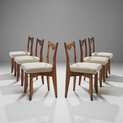6 Dinner Chairs by Guillerme et Chambron, France 1960s