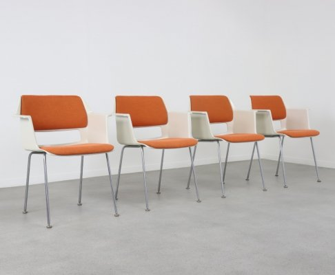 Set of 4 No. 2215 / 2225 dining chairs by André Cordemeyer for Gispen, 1960s
