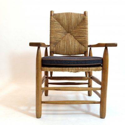 Straw armchair by Pierre Jeanneret, 1945