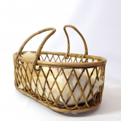French rattan crib from the 1950s-1960s