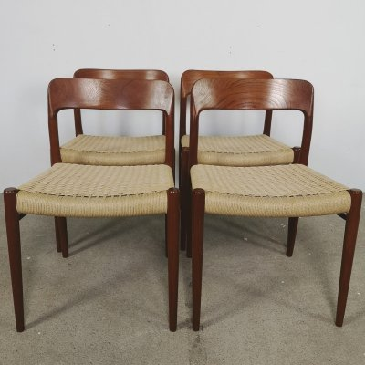 Set of 6 'Model 75' dining chairs by Niels Otto Møller