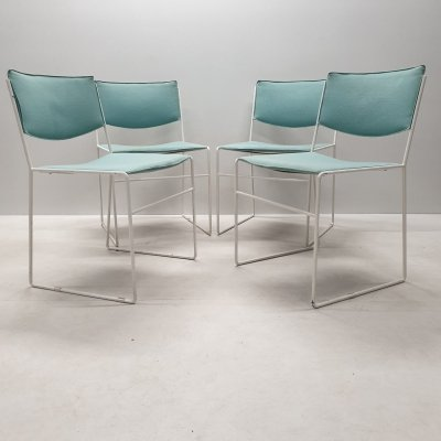 Set of 4 mint green & white minimalistic dining chairs, 1960s