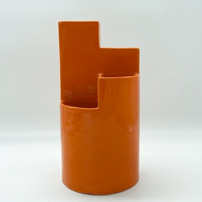 1960's Geometric Orange Ceramic Vase by Franco Bettonica for Gabbianelli