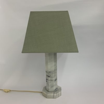 Vintage pentagonal marble table lamp, 1980's
