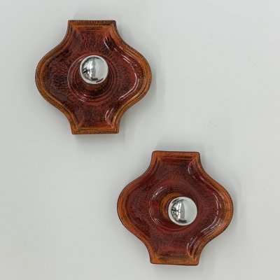 Set of 2 ceramic wall lamps, 1970's