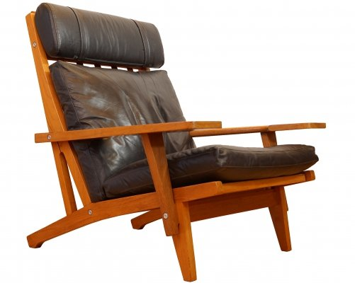 Vintage Teak & Leather GE 375 Easy Chair by Hans Wegner for Getama, 1970s