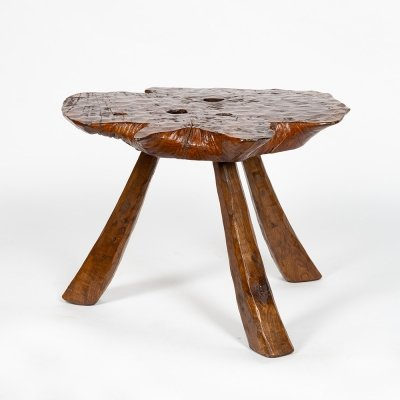 Table in solid carved chestnut, 1950s