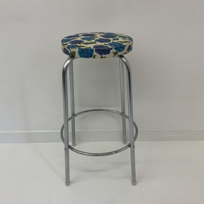 Retro bar stool with floral upholstery, 1970's