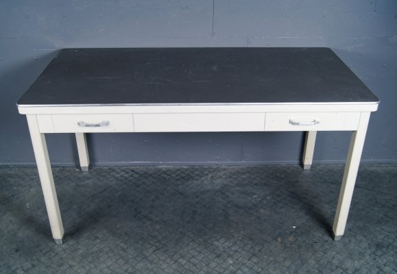 Iron working table with drawers from the TU Delft, 1950s