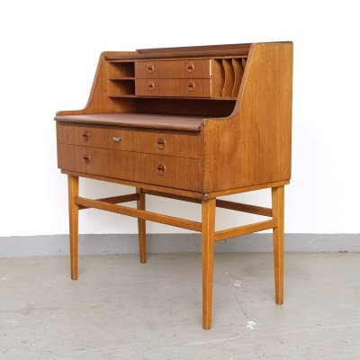 Midcentury Teak Secretary with Pull Out Desk, 1950s
