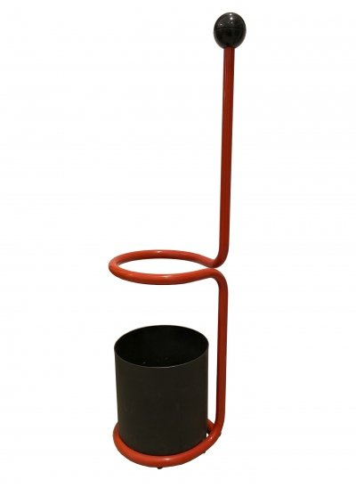 1980's Red & black Metal Umbrella Stand