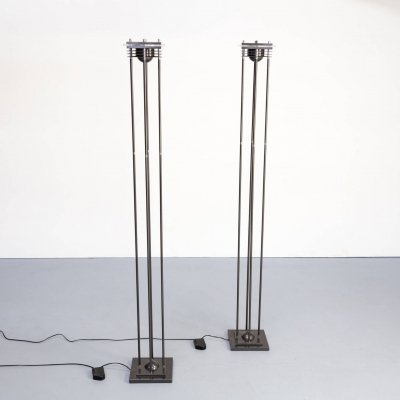 Pair of modernistic dimmable halogen floorlamps, 1980s