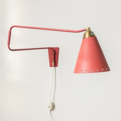 Red wall lamp by EWA, Sweden