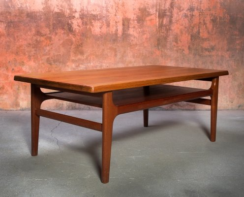 Niels Bach massive teak coffee table, Denmark 1960