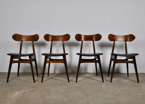 Set of 4 Dining Table Chairs by Louis van Teeffelen for Webe, 1950s