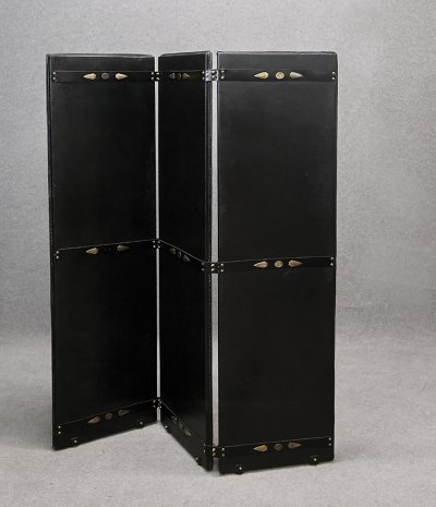 Rare MidCentury Jacques Adnet Screen in leather & brass, 1950s