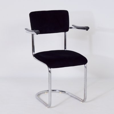 1017 Cantilever De Wit Chair in Black Rib with Armrests, 1950s