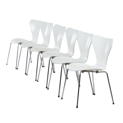 Set of 6 White Butterfly Chairs by Arne Jacobsen for Fritz Hansen, 1985