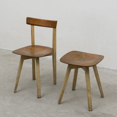 Chair & stool with crossed base by Niko Kralj for Stol Kamnik, 1954