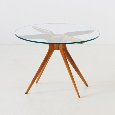 Italian Modern Round Glass Low Table with Beechwood Frame, 1950s