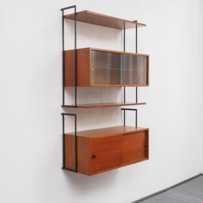 Vintage Mid Century Wall Shelf System With Glass Showcase In Teak
