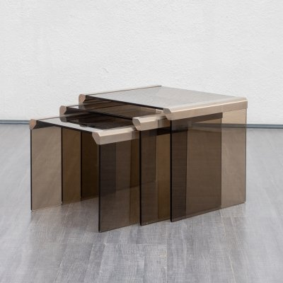 1970s Nesting Tables in smoked Glass And Stainless Steel