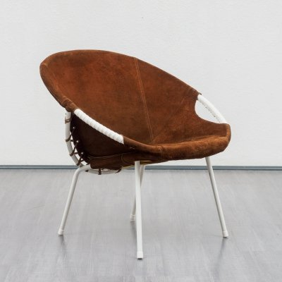 4 Mid Century 'Balloon' Chairs In Brown Suede by Lusch & Co, Germany