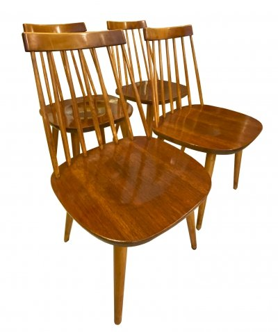 Set of 4 Pinnocchio Dining Chairs by Yngve Ekström, Sweden 1950s