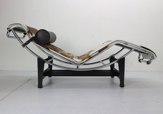 Le Corbusier LC4-4108 Pony Leather & Steel Chaise Lounge Chair by Cassina, 1970s