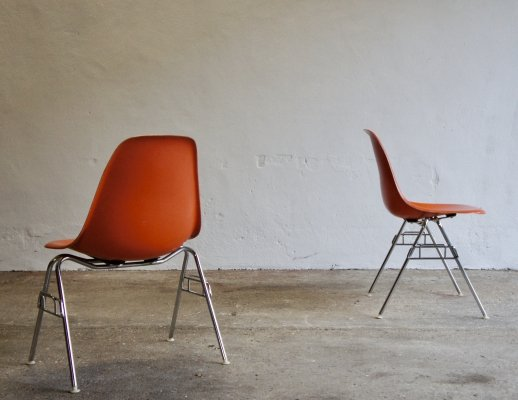 Pair of Fiberglass Eames DSS Chairs for Herman Miller