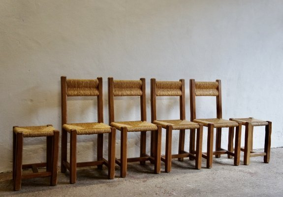 Rush Dining Chair And Stool Set, 1970s