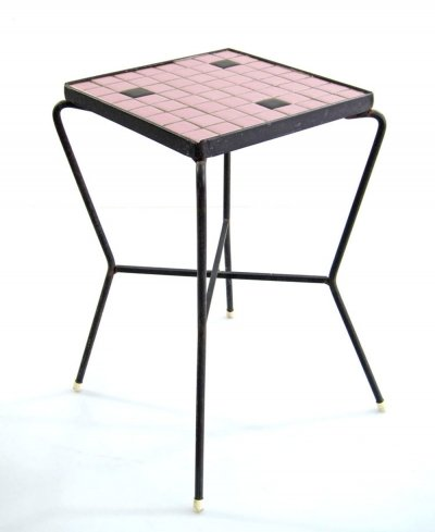 Pink 50s mosaic side table