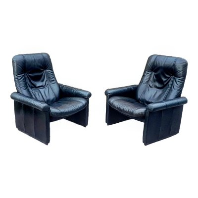 Set of 2 leather DS50 lounge chairs by De Sede Switzerland