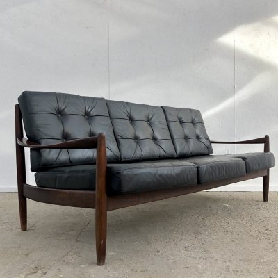 Vintage Danish teak & leather sofa, 1960s