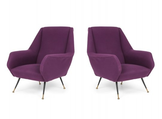 Pair of Ico Parisi Easy Chairs with Purple Upholstery, 1950s