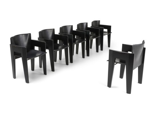 Black Oak & Leather Arco Dining Chairs, 1980s