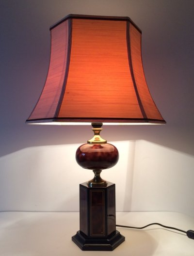 Large Burl Wood Table Lamp by Maison Le Dauphin, France 1970's