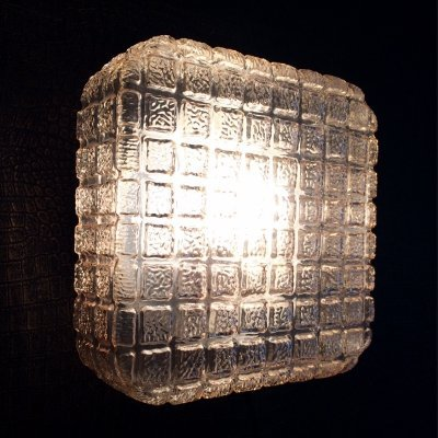 Square Gold Glass Sconce wall lamp, 1960's