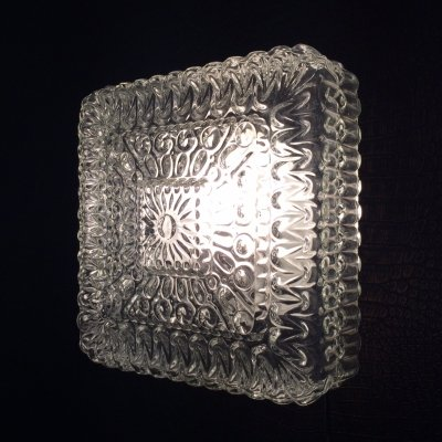 Square Ice Glass Wall Lamp Sconce, 1970's