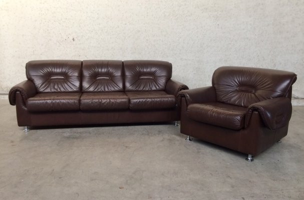 Midcentury Modern brown leather Sofa Seat Set, 1970's