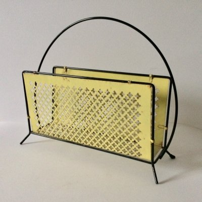 Vintage 1950's Perforated Metal Newspaper Magazine Holder